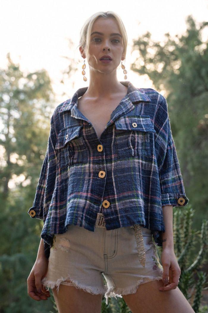 new school plaid woven blouse