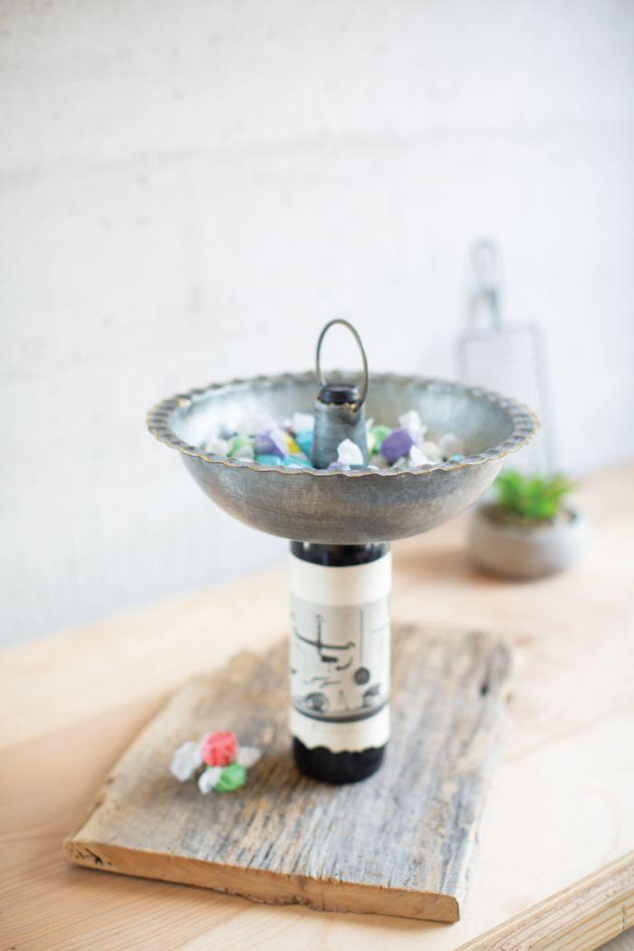 galvanized bowl bottle topper
