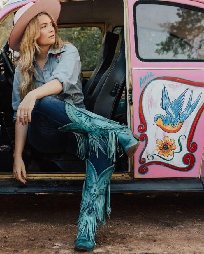 thunderbird fringe boot - turquoise blaze