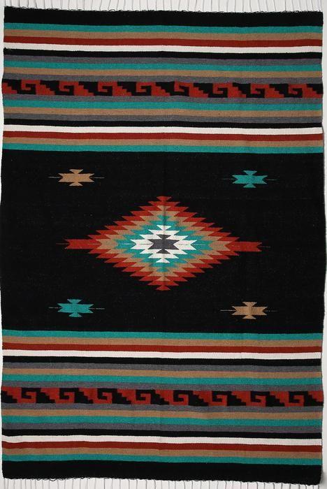 black mitla style blanket