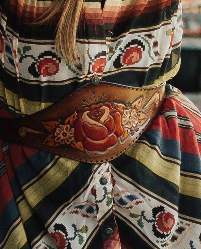 tobacco rose leather waist belt