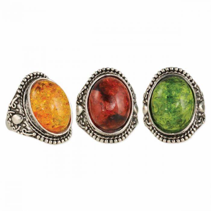 vintage silver amber ring