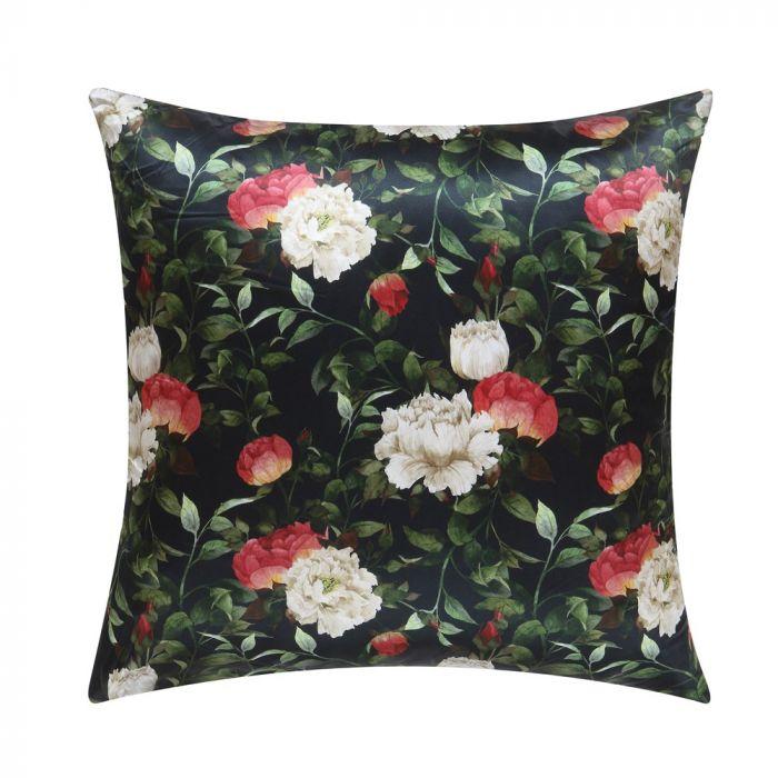 black rose print silk pillow