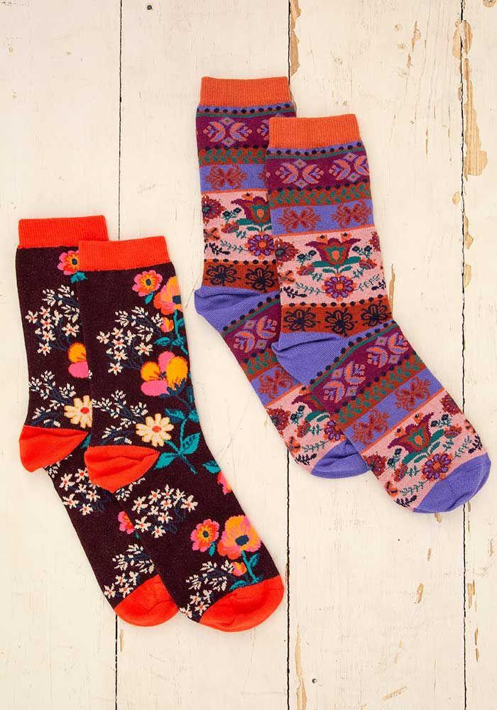 floral boho sock set