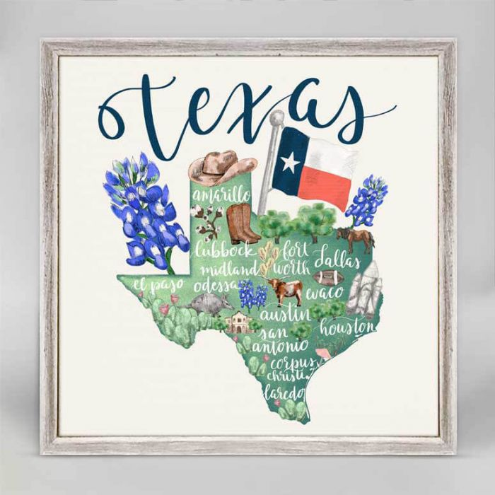 state map of Texas mini framed canvas