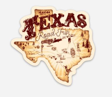 texas road trip sticker