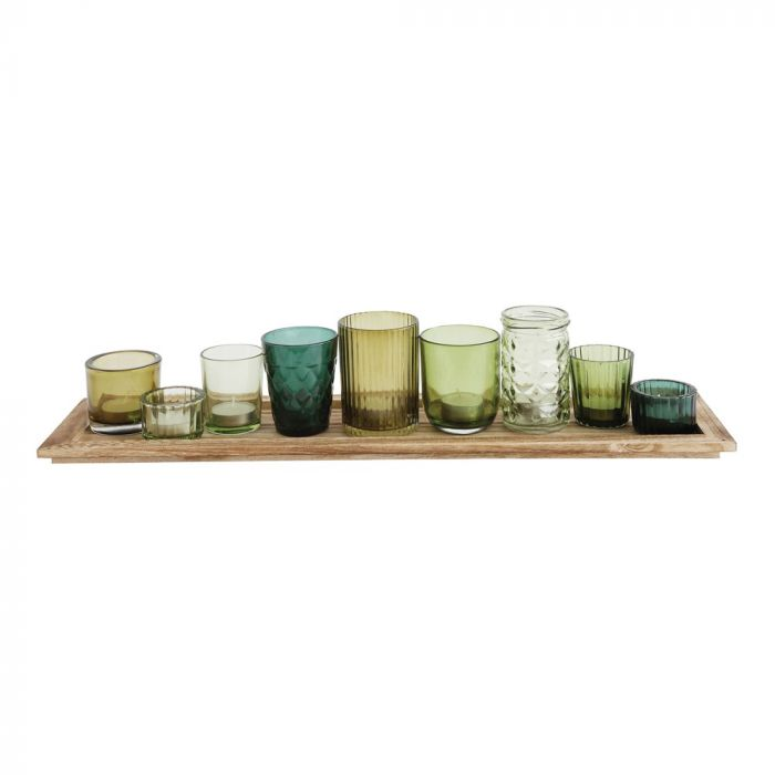 Wood Tray with 9 Green Glass Votive Holders