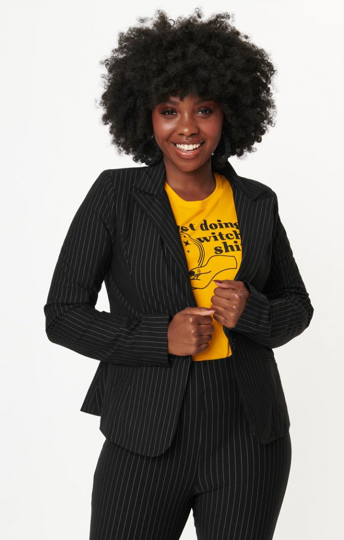 endora black pin stripe jacket