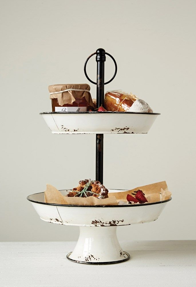 Decorative 2-Tier Enameled Metal Tray with Distressed Finish & Handle